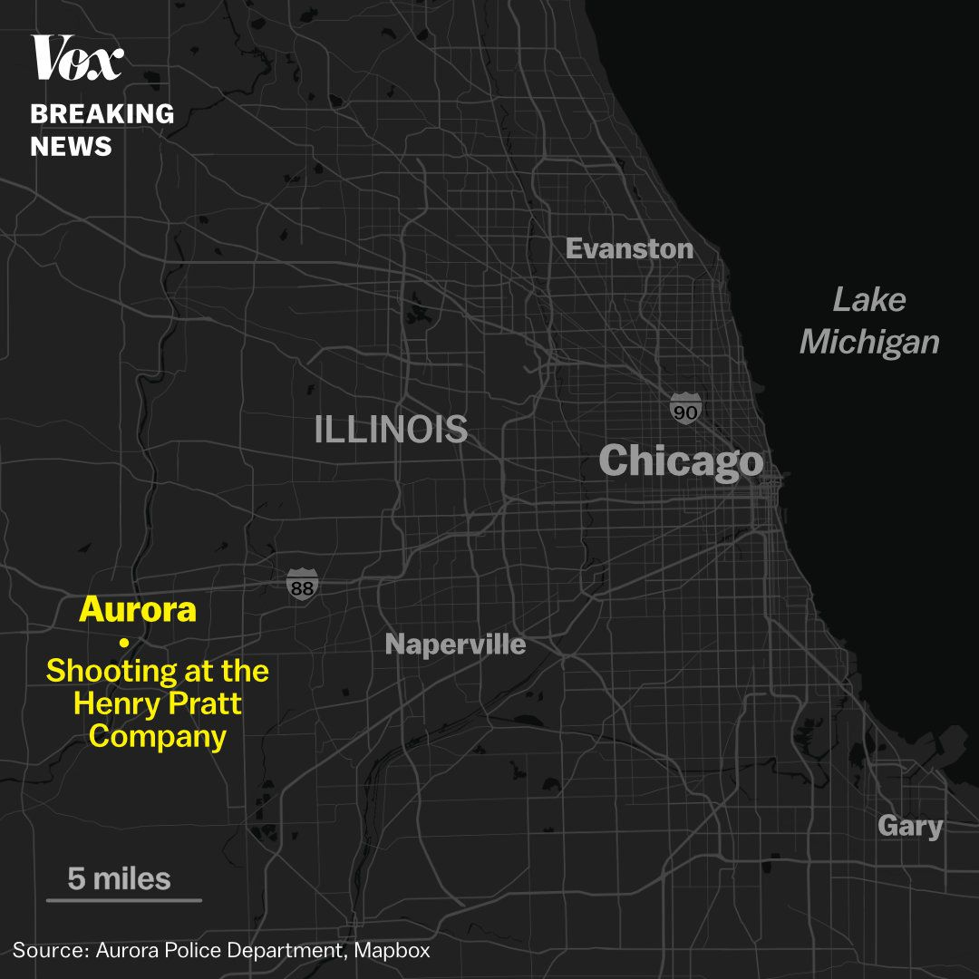 A map of the location of the Aurora, Illinois, shooting at the Henry Pratt Company building.