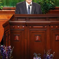 President Thomas S. Monson announces 4 new temples as LDS members gather for the 186th annual general conference of The Church of Jesus Christ of Latter-day Saints in Salt Lake City at the Conference Center Sunday, April 3, 2016.