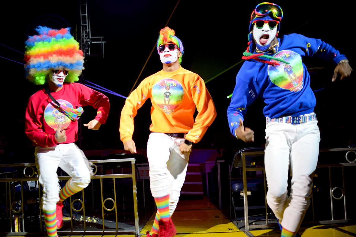 """Clowns perform at the UniverSoul Circus, billed as """"the coolest show on Earth."""""""