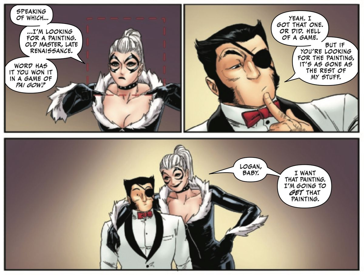 Black Cat throws an arm around Logan's shoulder, displaying just how much taller she is than him, as she explains that she's going to recover a painting he used to own, in Black Cat #9, Marvel Comics (2020).