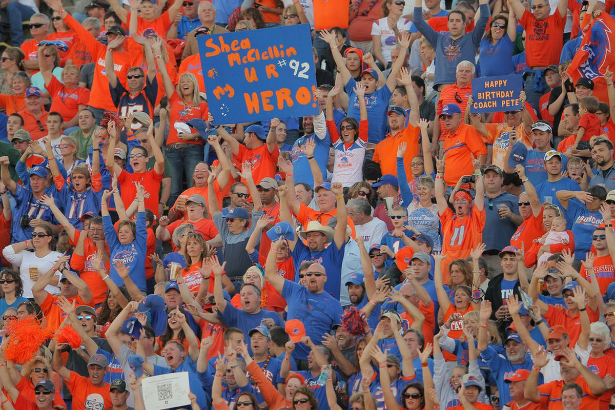 FORT COLLINS, CO - OCTOBER 15:  Fans support the Boise State Broncos as they face the Colorado State Rams at Sonny Lubick Field at Hughes Stadium on October 15, 2011 in Fort Collins, Colorado.  (Photo by Doug Pensinger/Getty Images)
