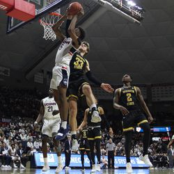 The Wichita State Shockers take on the UConn Huskies in a men's college basketball game at Gampel Pavilion in Storrs, CT on January 10, 2018.