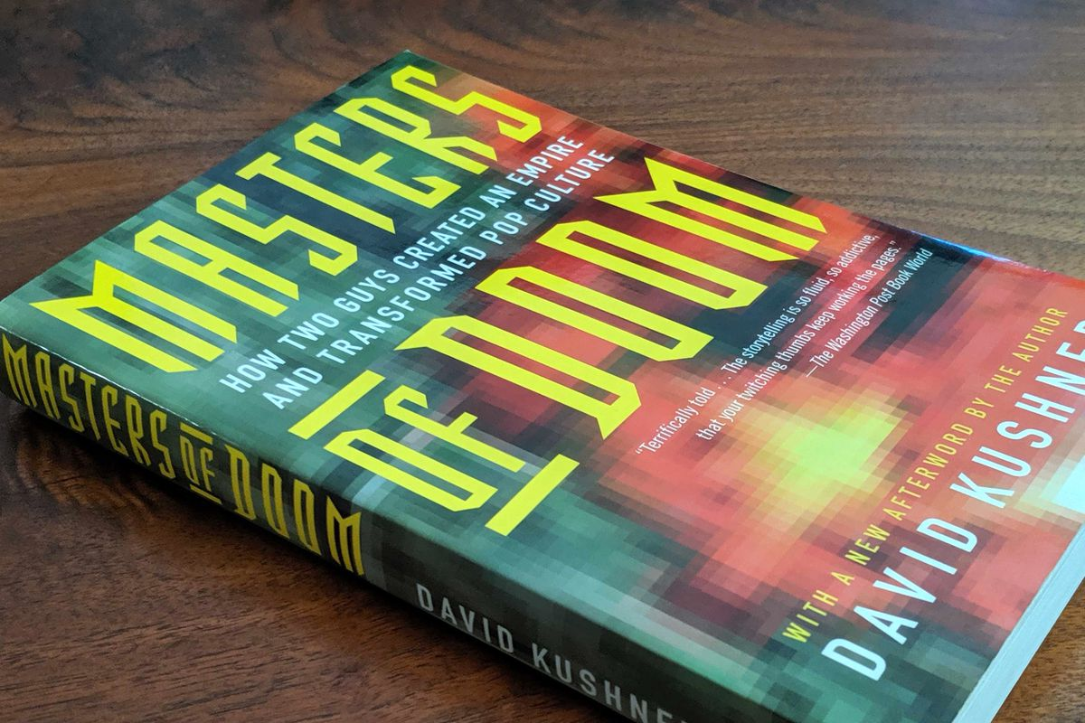 A photo of the second print paperback copy of David Kushner's Masters of Doom book
