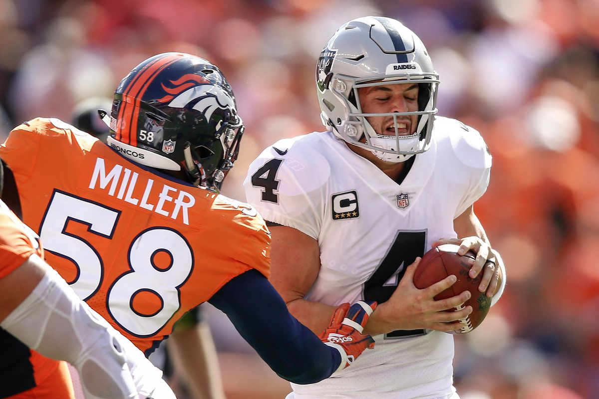 premium selection 08471 3c91e Does Von Miller really think Derek Carr is an 'incredible ...