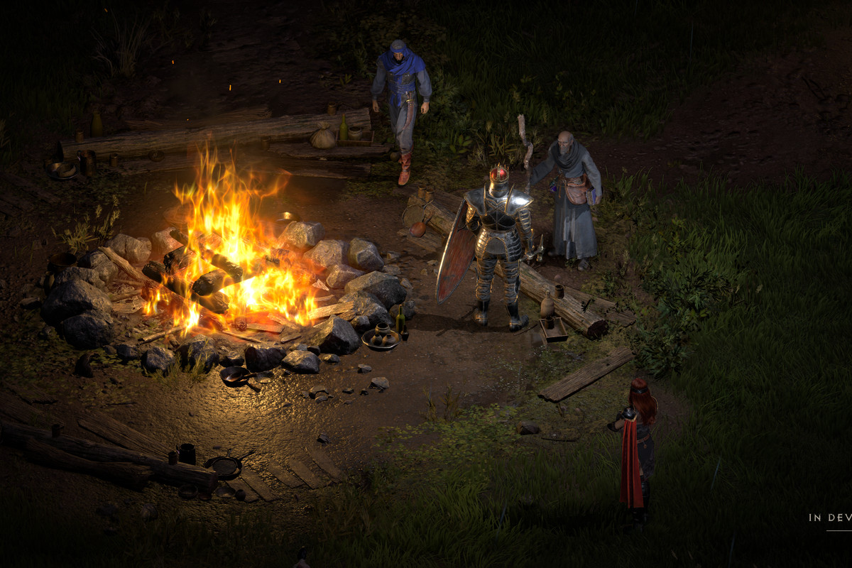 Diablo 2 characters around a campfire