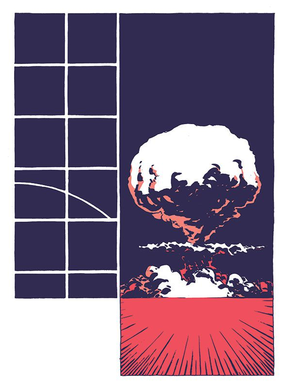 A rocket's arc concludes in a large panel of a mushroom cloud, in Hedra, Image Comics (2020).