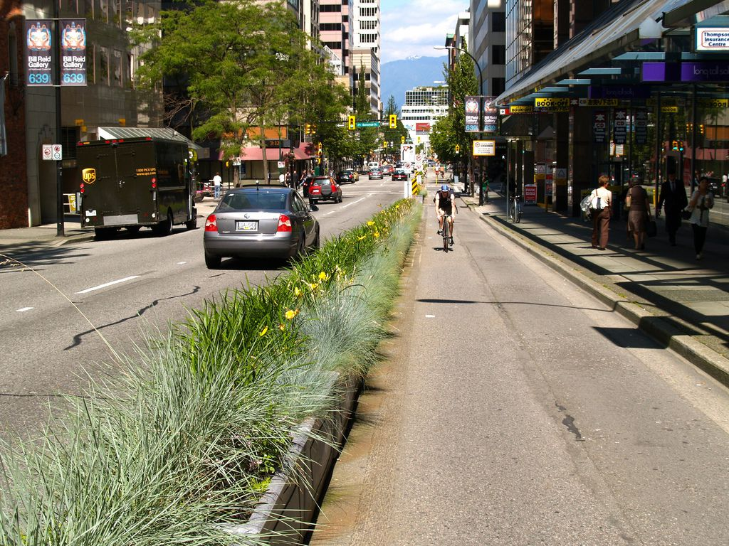 A downtown Vancouver separated bike lane.