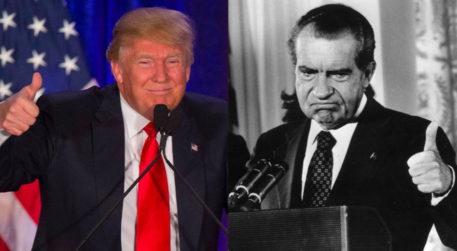Donald Trump and Richard Nixon both gives thumbs-up.