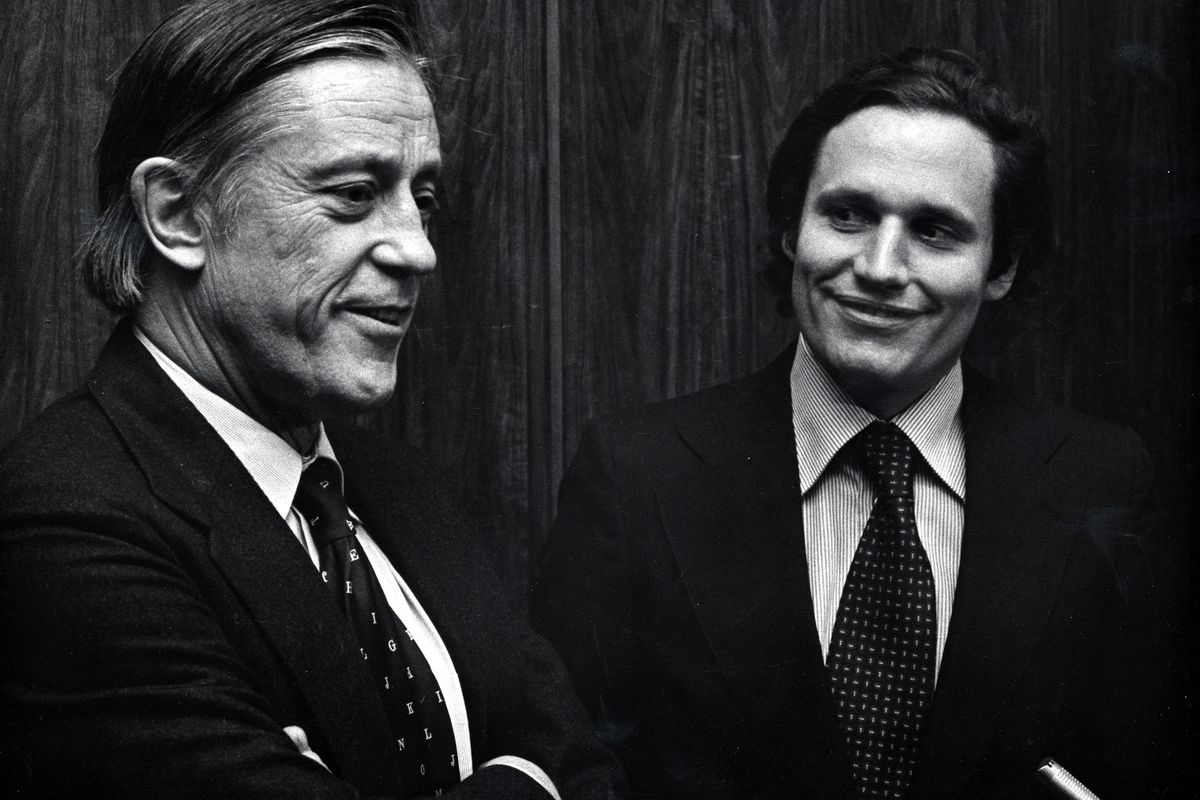 """Ben Bradlee, left, with Bob Woodward, at the premiere of """"All The President's Men""""."""