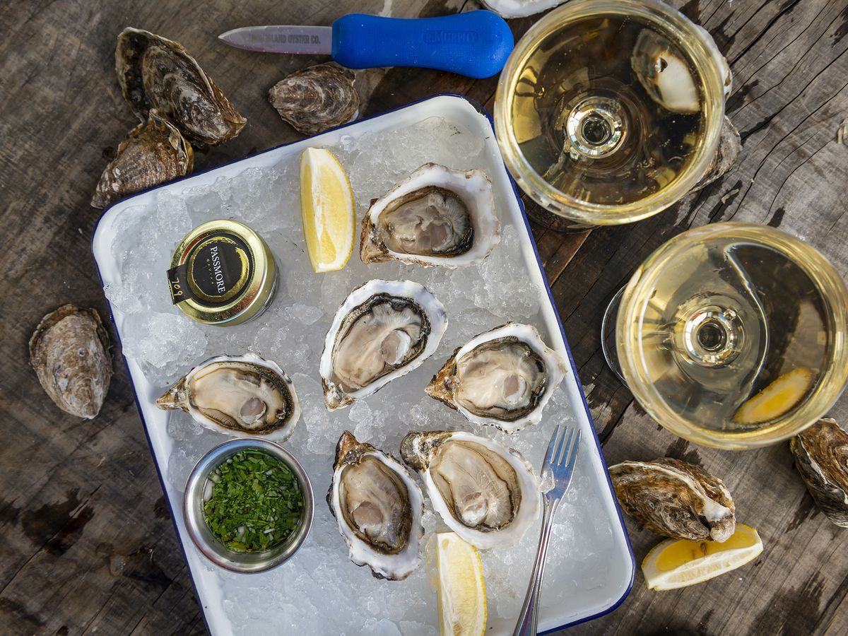 Oysters and caviar from Hog Island