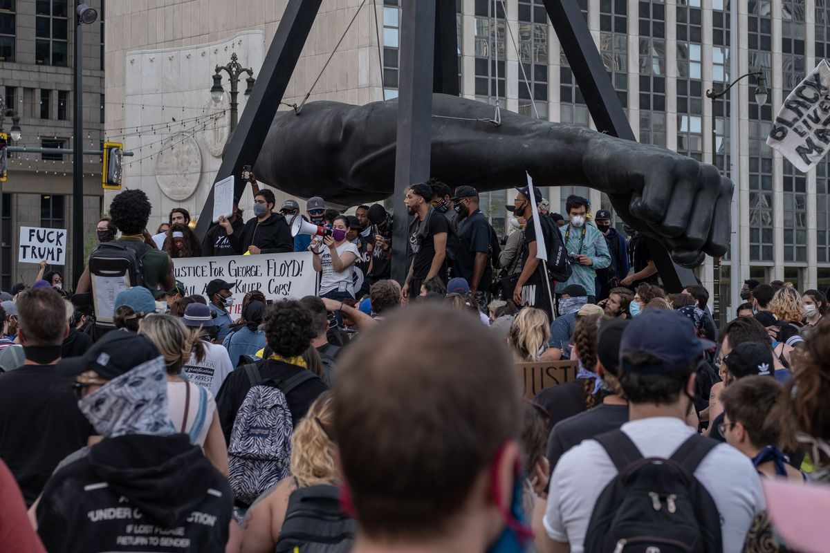 Protesters have an open mic session during a peaceful demonstration over the death of George Floyd, in Detroit, Michigan, June 3,2020 - The Chief of Detroit Police James Craig later ended the curfew after protesters called for an end to the curfew.