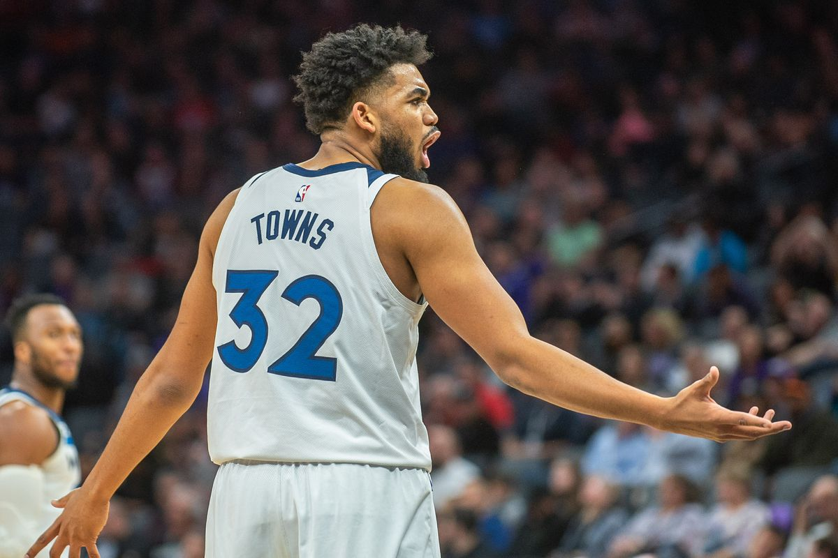 Minnesota Timberwolves center Karl-Anthony Towns reacts to a call during the fourth quarter against the Sacramento Kings at Golden 1 Center.