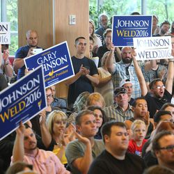 Libertarian presidential candidate Gov. Gary Johnson and running mate Gov. Bill Weld in Salt Lake City for a speech at the University of Utah on Saturday, Aug. 6, 2016.