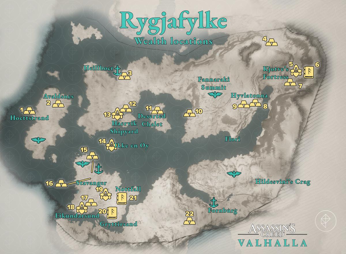 Rygjafylke Wealth locations map