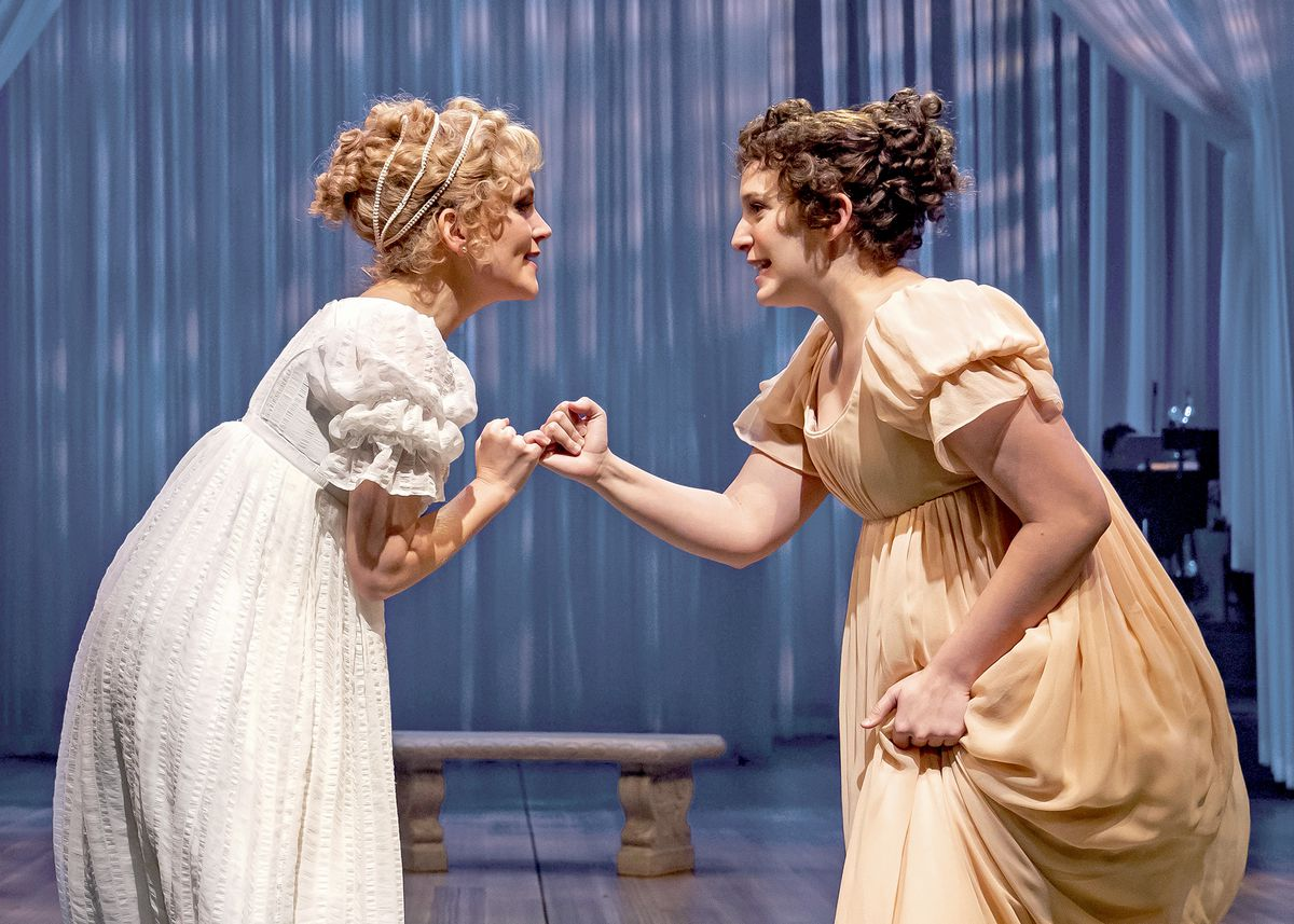 """Emma Woodhouse (Lora Lee Gayer, left) takes  HarrietSmith (EphieAardema) under her wing in Chicago Shakespeare Theater's production of""""Emma"""" the musical."""