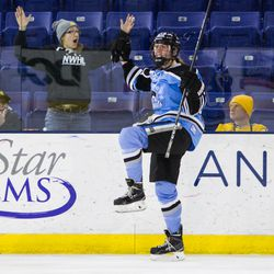 Buffalo Beaut Corinne Buie celebrates her game-winning goal during the Isobel Cup Finals against the Boston Pride @ Tsongas Center