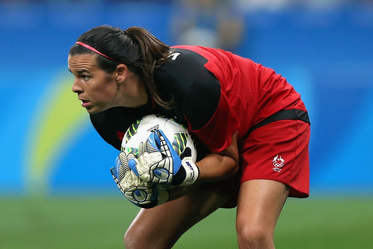Lydia Williams saves a ball from Germany in the August 6 game.