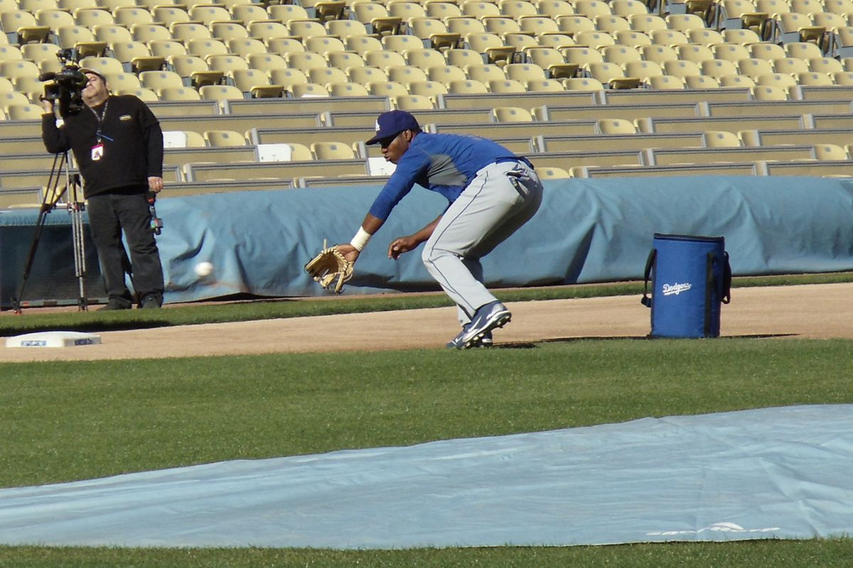 Pedro Baez, seen here as a 3rd baseman, is now a hard throwing pitcher for the Dodgers