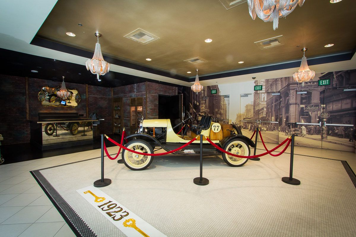 The Ford Model-T at the entrance of 1923 Bourbon & Burlesque.