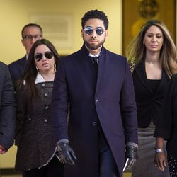 Jussie Smollett leaves court March 26 after charges were dropped.   Ashlee Rezin/Sun-Times