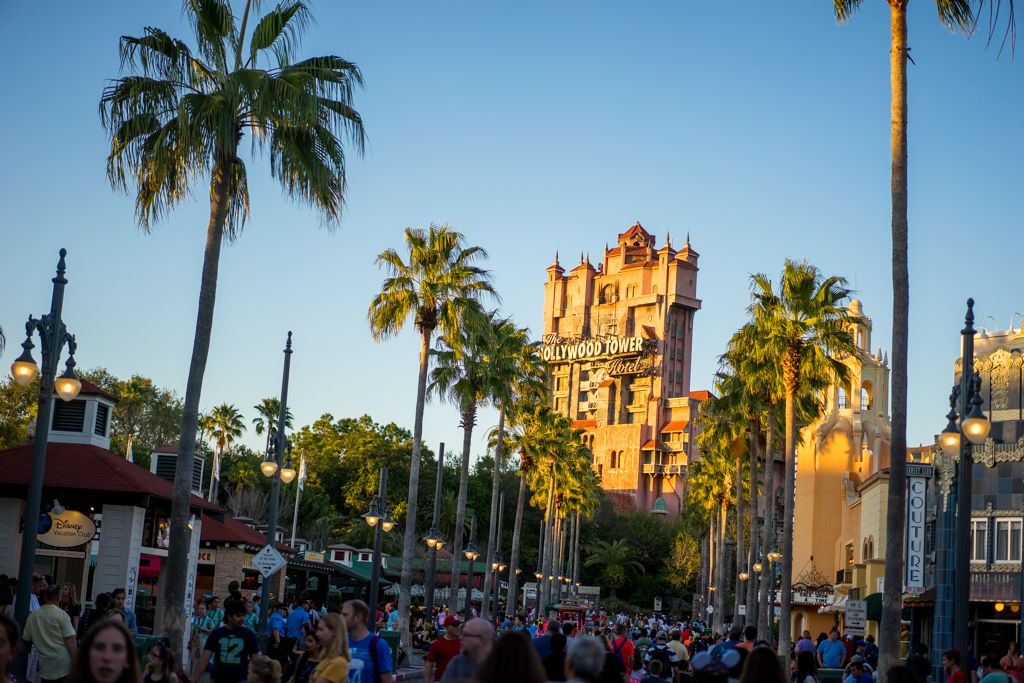 Looking down a long street at the Tower of Terror attraction in Disney World