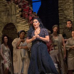 """In this Sept. 22, 2012 photo provided by the Metropolitan Opera, Anita Rachvelishvili performs in the title role in Bizet's """"Carmen,"""" during a rehearsal at the Metropolitan Opera in New York."""