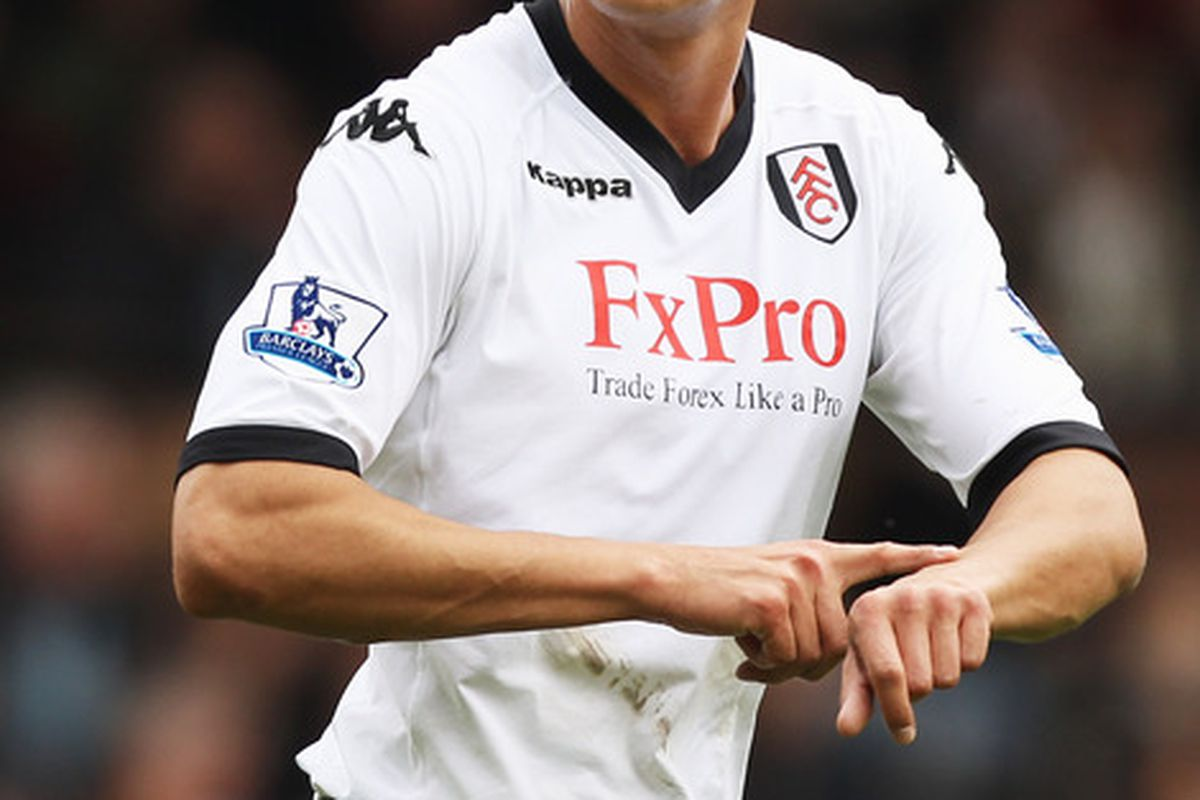 LONDON, ENGLAND - APRIL 03:  Bobby Zamora of Fulham gestures during the Barclays Premier League match between Fulham and Blackpool at Craven Cottage on April 3, 2011 in London, England.  (Photo by Ian Walton/Getty Images)