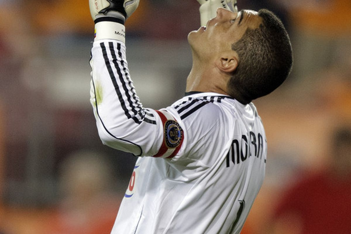HOUSTON - MARCH 19:  Goalkeeper Faryd Mondragon of the Philadelphia Union celebrates after the final whistle as the defeated the Houston Dynamo 1-0 at Robertson Stadium on March 19, 2011 in Houston, Texas.  (Photo by Bob Levey/Getty Images)