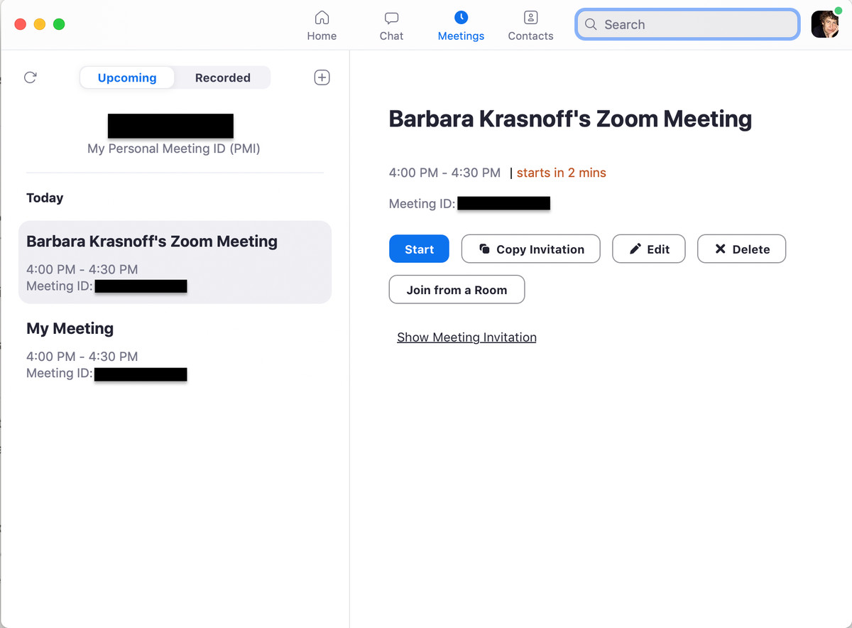 With the web version, you have several options for scheduling meetings