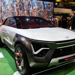 Kia's HabaNiro electric, off-road concept car on display at the 2020 Chicago Auto Show Saturday at McCormick Place. Kia says the car will get 300-plus miles on a charge and comes with an augmented reality windshield.