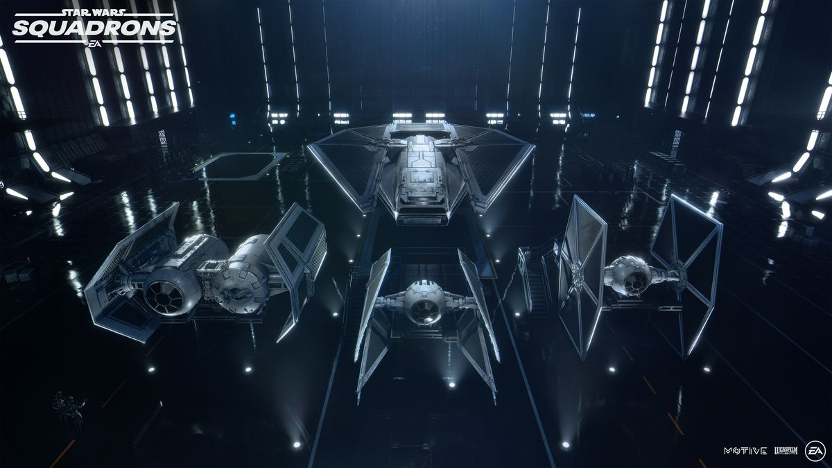 A TIE Reaper, TIE Bomber, TIE Advanced, and a vanilla TIE sit on the highly-reflective landing pad inside an Imperial Star Destroyer.