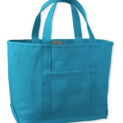"""<a href=""""http://www.llbean.com/llb/shop/67891?feat=677-GN1"""" rel=""""nofollow"""">Colorburst Tote in Blue with Blue Monogram</a>, $31: """"My whole relationship with LL Bean began with the Boat and Tote, I love this all solid color version including a tonal mo"""
