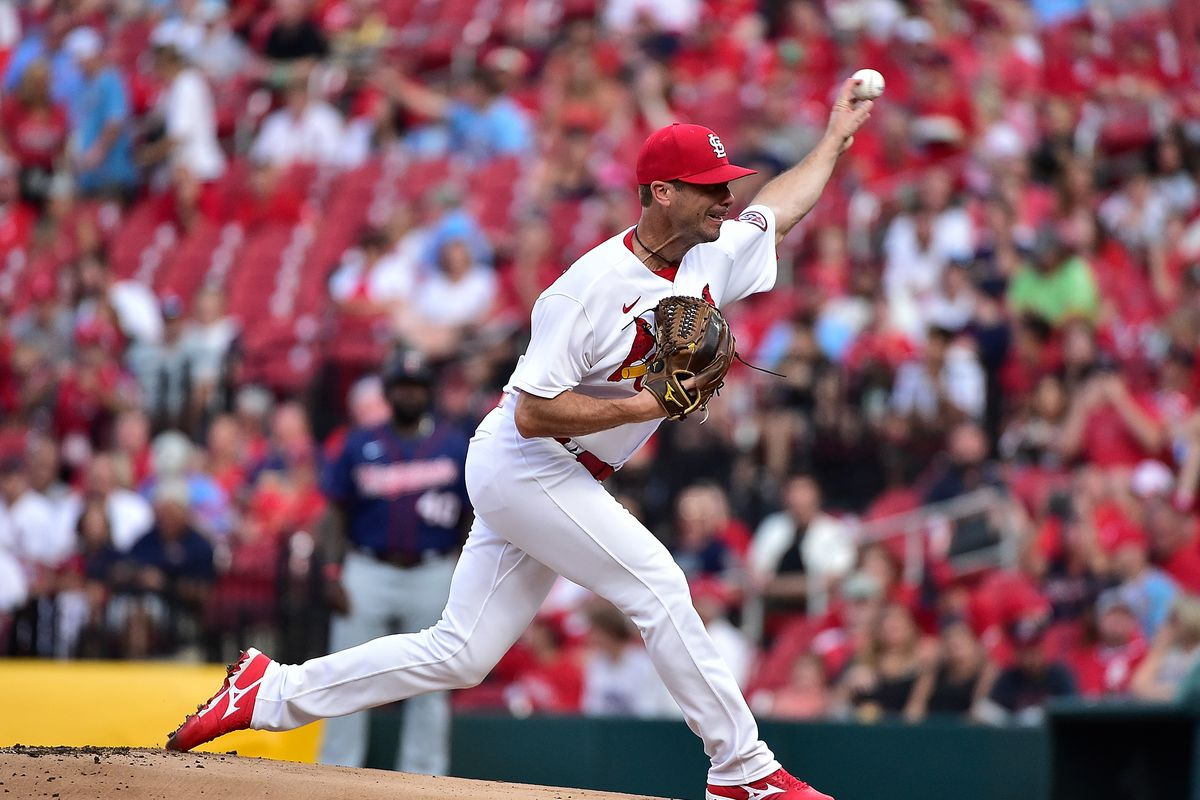 St. Louis Cardinals starting pitcher Wade LeBlanc (49) pitches during the first inning against the Minnesota Twins at Busch Stadium.