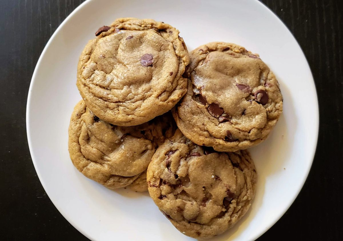 Chocolate chip cooking on a plate.