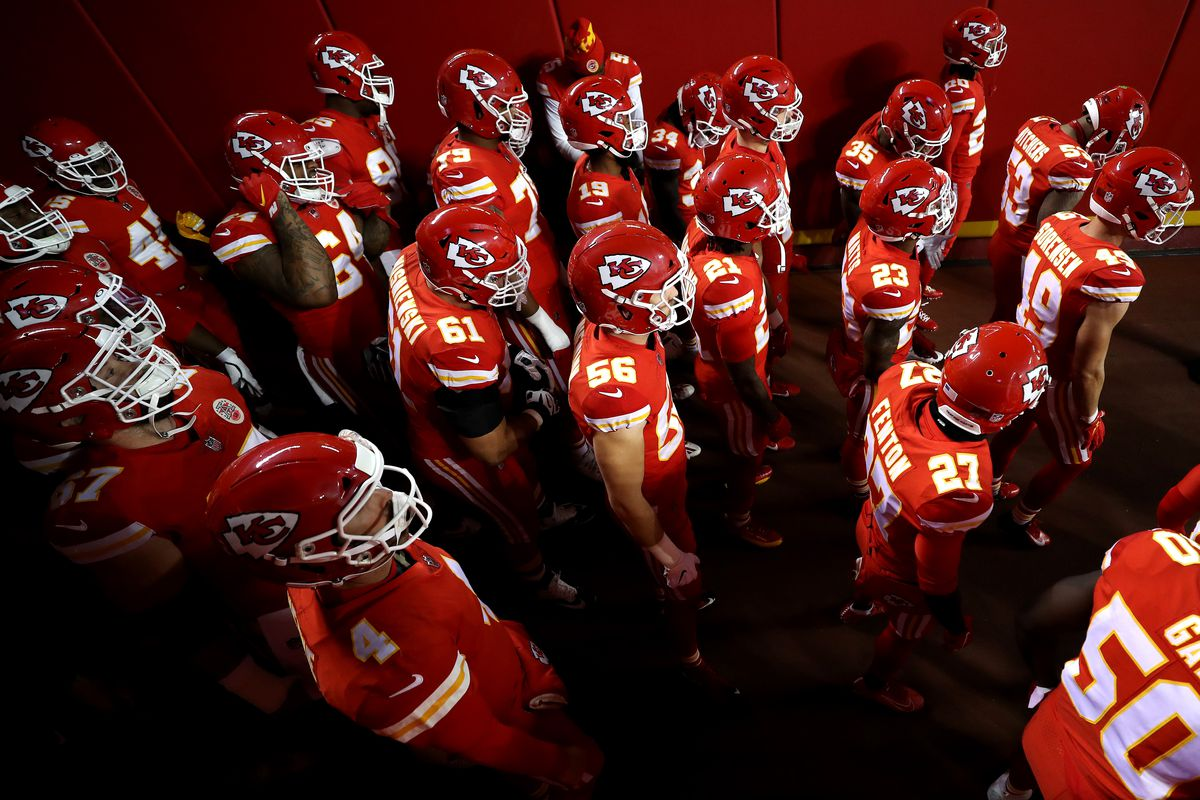 Kansas City Chiefs stand in the tunnel prior to a game against the Denver Broncos at Arrowhead Stadium on December 06, 2020 in Kansas City, Missouri.