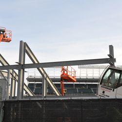 Crane cab tilts to get a better view -