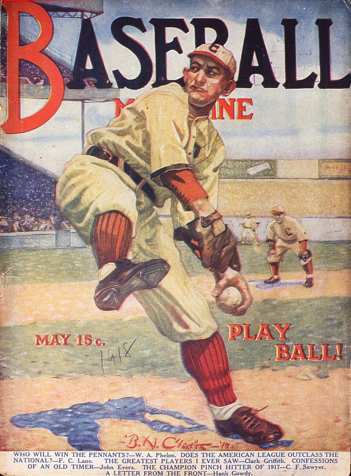 Baseball Magazine Cover With A Pitcher In Action