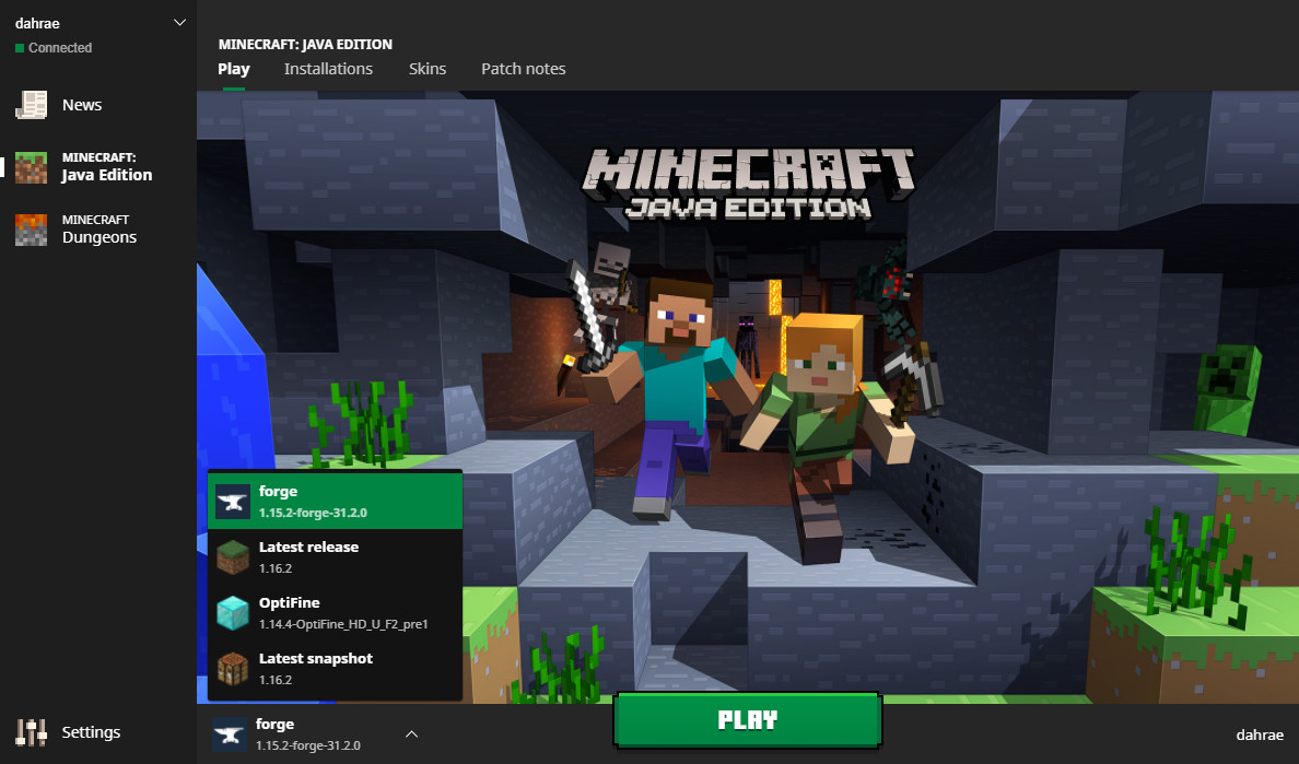 A player selects Minecraft Forge to play Minecraft off of in the Java Edition