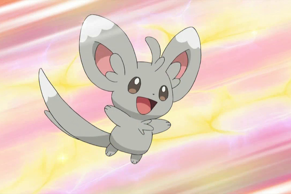 A Minccino leaps in the air, with a pink and yellow background behind it