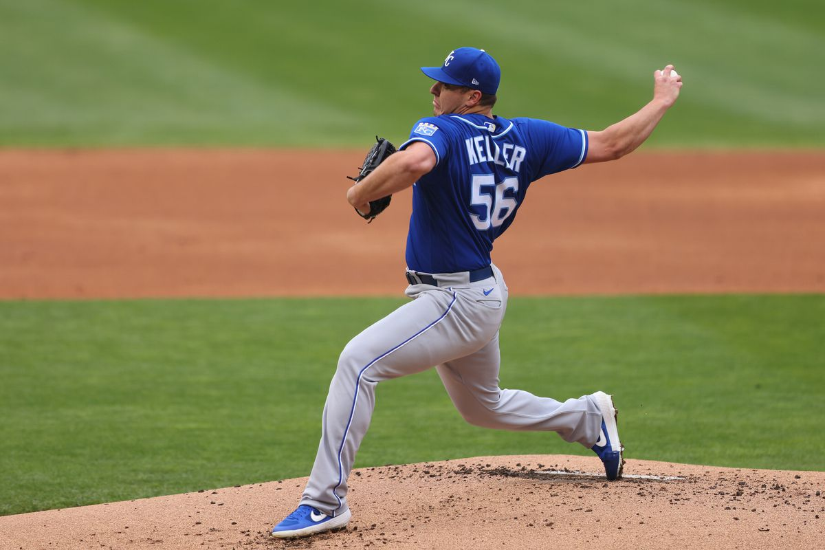 Brad Keller #56 of the Kansas City Royals pitches in the first inning against the Minnesota Twins at Target Field on May 30, 2021 in Minneapolis, Minnesota.
