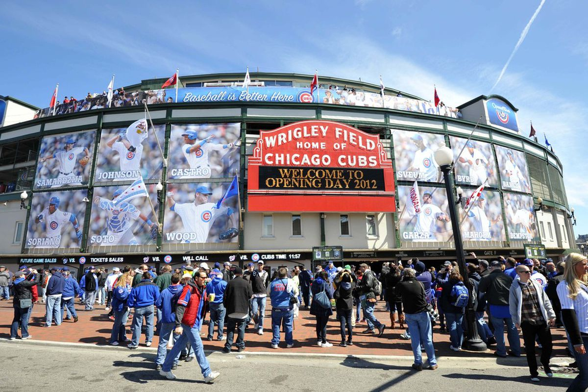 April 5, 2012; Chicago, IL, USA; A general view of Wrigley Field before the game between the Chicago Cubs and the Washington Nationals on opening day.  Mandatory Credit: Rob Grabowski-US PRESSWIRE