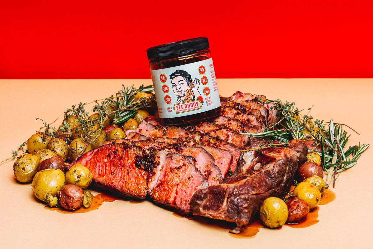 Sze Daddy chili sauce, with a label designed by Meijun Li.