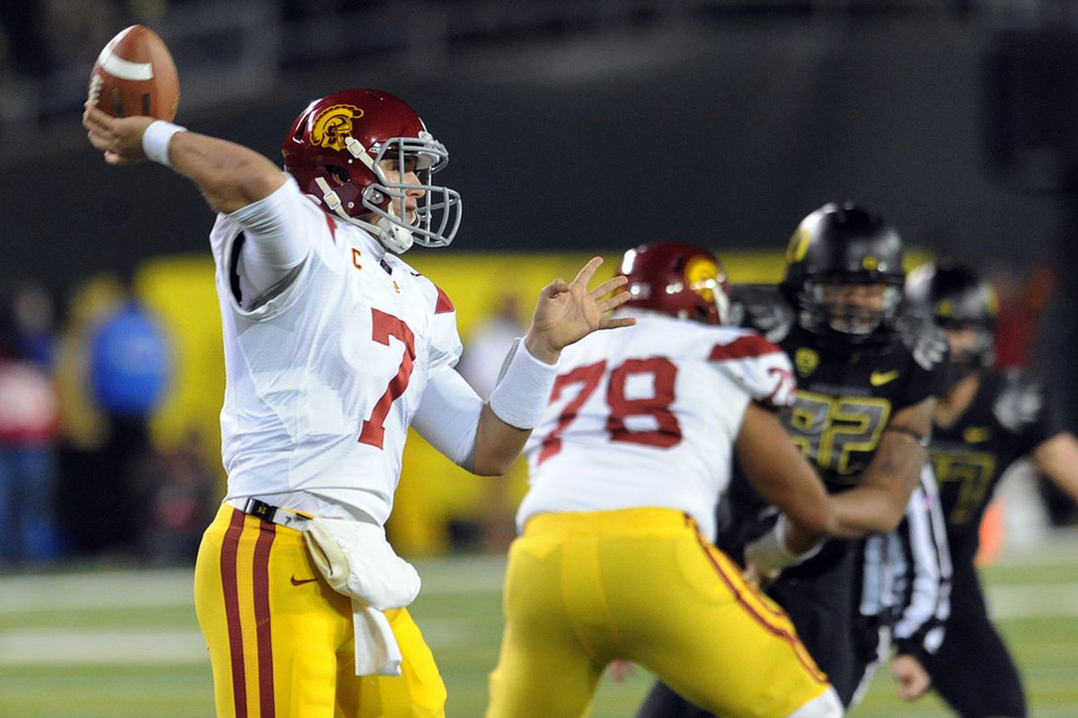 EUGENE, OR - NOVEMBER 19: Quarterback Matt Barkley #7 of the USC Trojans throws a pass in the first half of the game against the Oregon Ducks at Autzen Stadium on November 19, 2011 in Eugene, Oregon. (Photo by Steve Dykes/Getty Images)
