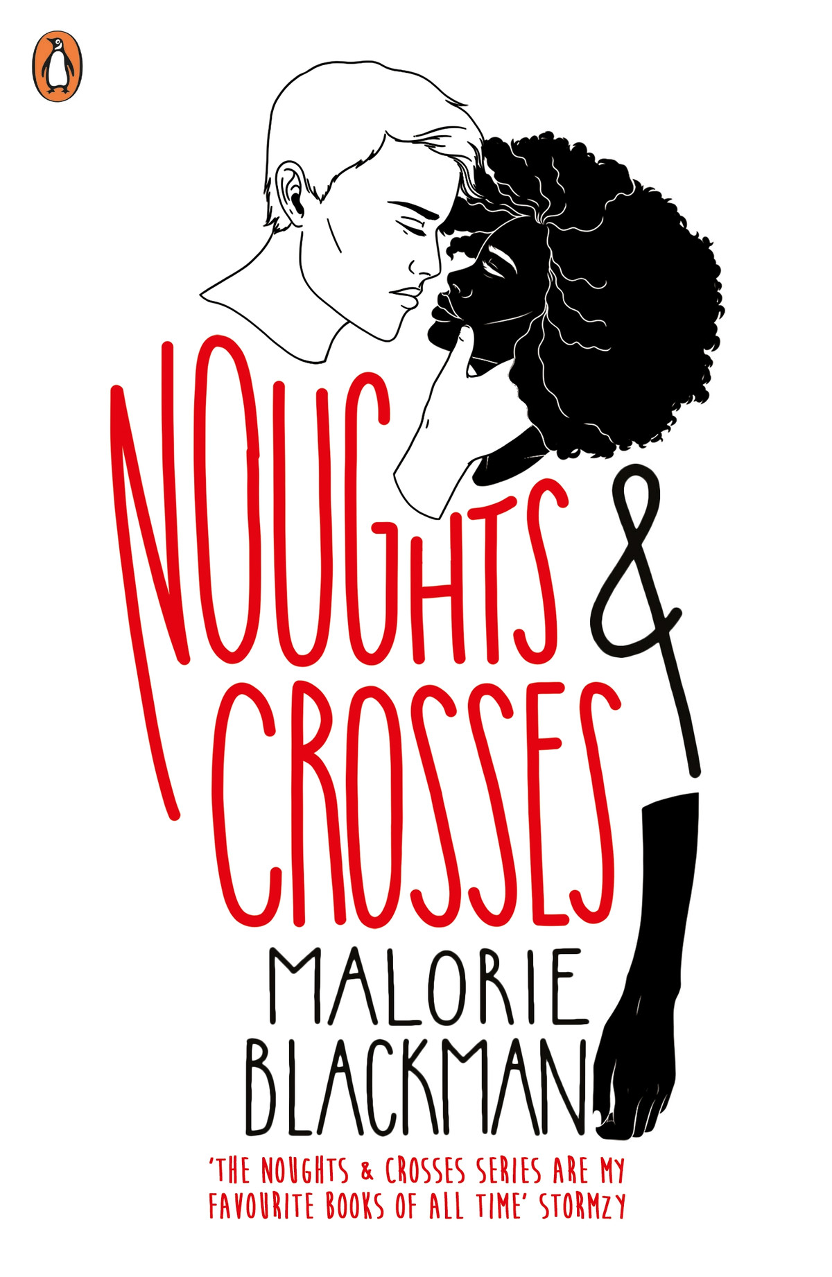 The cover of the British reprint edition of Malorie Blackman's Noughts & Crosses, with a white man caressing the face of a black woman
