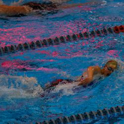 Emery's Haley Guymon swims her way to a win in heat 2 of the 200 yard freestyle at the 3A women's swimming state meet at the South Davis Recreation Center in Bountiful on Saturday, Feb. 13, 2021.