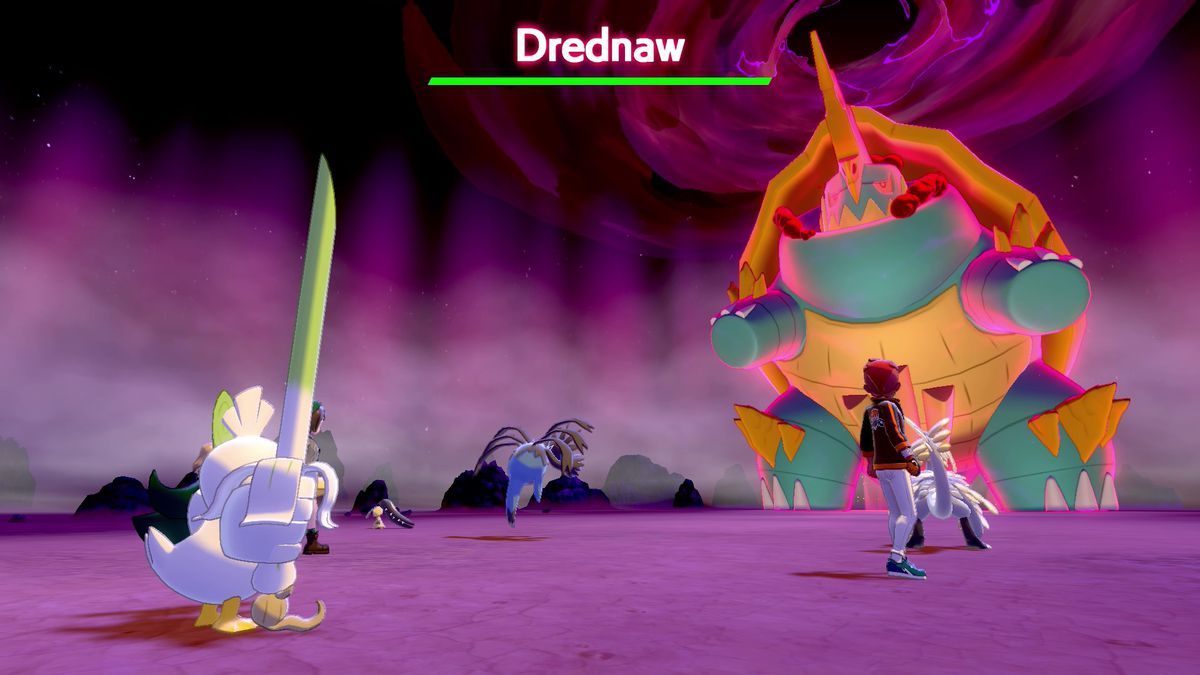 A Gigantamax encounter in Pokemon Sword and Shield.