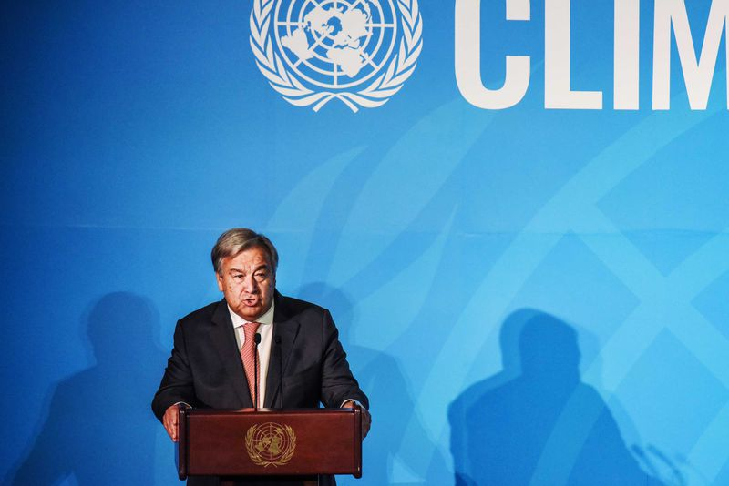 United Nations Secretary-General António Guterres speaking from behind the podium at the Climate Action Summit.