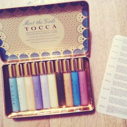 <b>Tocca</b> has sent over a set of samples. I take the box home so I can smell them on my skin slowly over the weekend. Perfume really has to sit on the skin for a couple of hours for you to know how it blooms.
