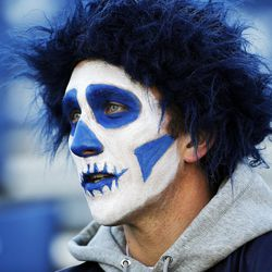 Brock Mildon waits for an NCAA football game between Brigham Young University and San Jose State University to begin in Provo on Saturday, Oct. 28, 2017.