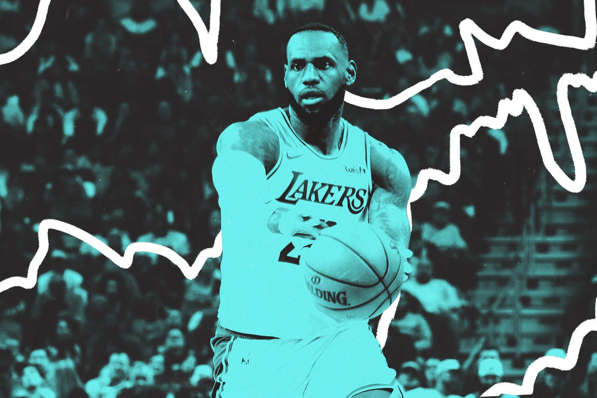 A blue-tinted image of LeBron James throwing a pass.
